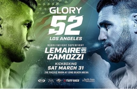 Cartel oficial GLORY 52 combate Mike Lemaire y Chris Camozzi