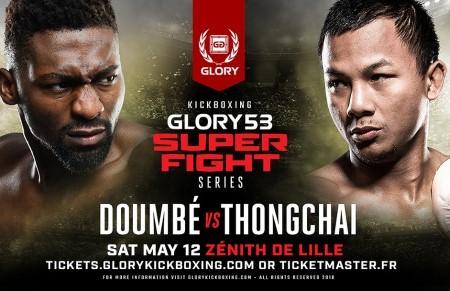Cartel de GLORY 53 con Doumbé y Thongchai