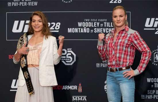 Nicco Montano y Valentina Shevchenko en la previa de UFC 228
