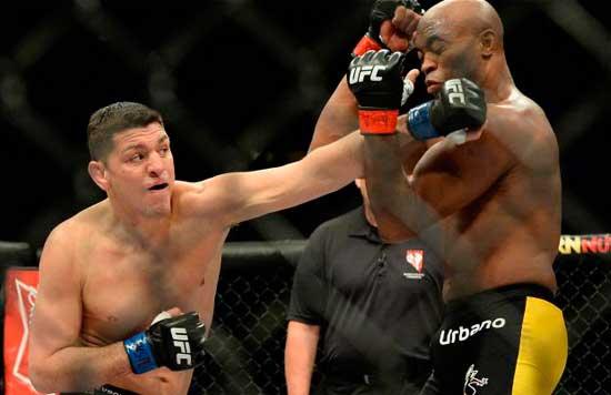 Nick Díaz y Anderson Silva en la pelea que tuvieron a primeros de 2015