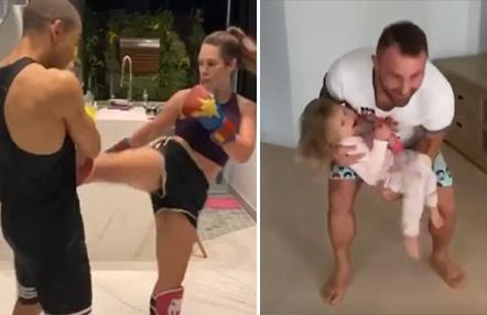 Los luchadores UFC se ejercitan en familia: levantando pesas con su hija, entrenando con su mujer…