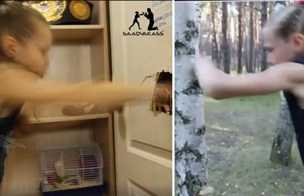 La niña prodigio rusa del boxeo se divierte 'rompiendo puertas' a puñetazo limpio durante el confinamiento