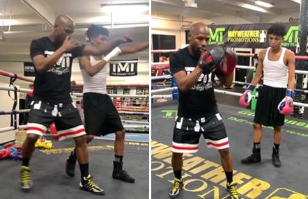 Boxeo en familia: Mayweather enseña a su hijo sus mejores trucos