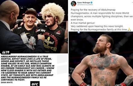 El mensaje de ánimo de McGregor y Dana White a Khabib Nurmagomedov y su padre
