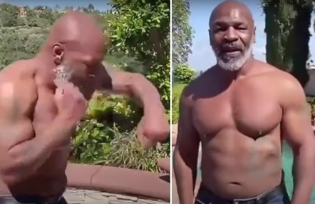 Mike Tyson luce bíceps antes de su vuelta al ring